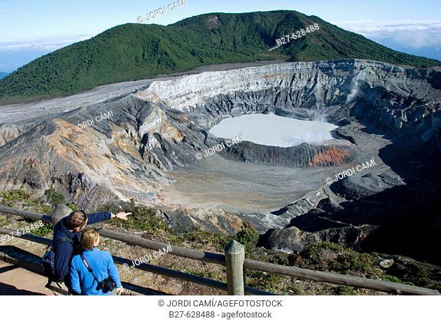 Crater lake, volcano Poas. Poas National Park. Central Valley. Costa Rica