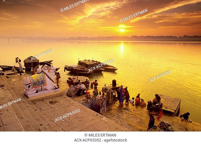 People along the Ganges River at Sunrise, Varanasi, India No Model Release