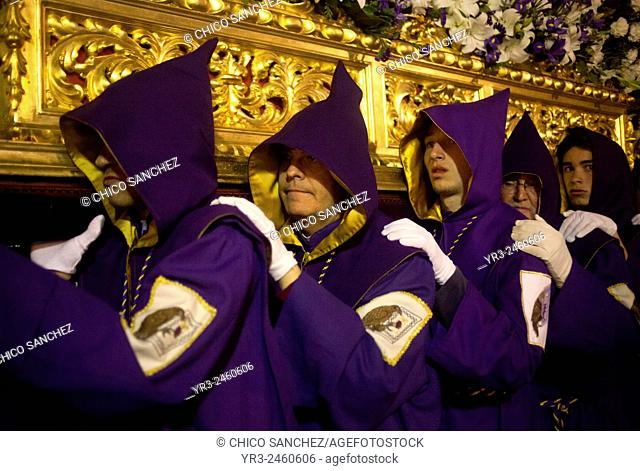 during an Easter Holy Week procession in Trujillo, Extremadura, Spain