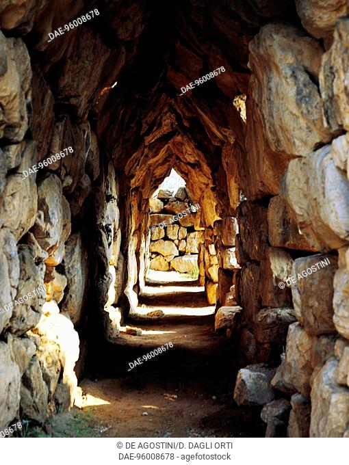 A covered walkway in the Cyclopean walls on the acropolis of Tiryns (UNESCO World Heritage List, 1999), Greece. Mycenaean civilisation, 13th century BC