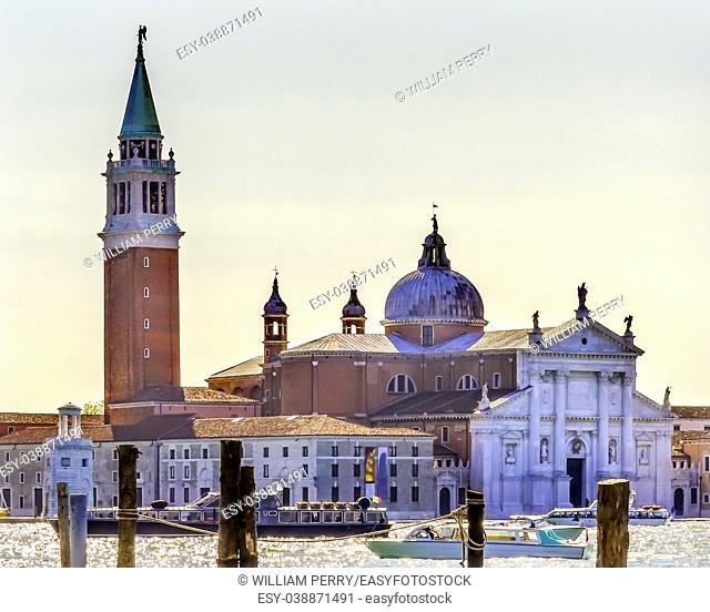 San Giorgio Maggiore Church Grand Canal Boats Venice Italy. 16th Century Benedictine Church on Island Venice Lagoon