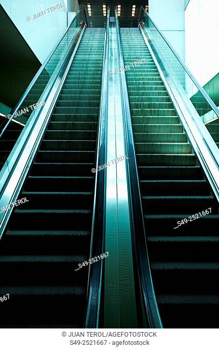Escalators from a subway. Colon subway station, Valencia, Spain