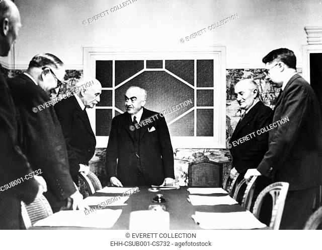 Vichy Cabinet discussing a report by Admiral Darlan, Vichy Foreign Minister. May 31, 1941. Darlan met with Hitler and German Foreign Minister Von Ribbentrop