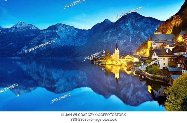 Evening view of Hallstatt, Austria