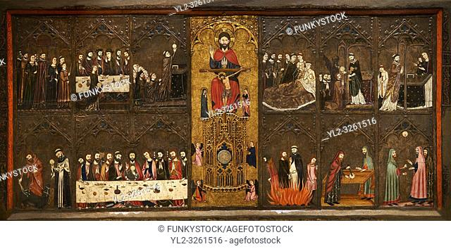 Gothic painted Altarpiece of the Corpus Christi by Master of Vallbona de les Monges possibly Guillem Seguer. Tempera, stucco reliefs
