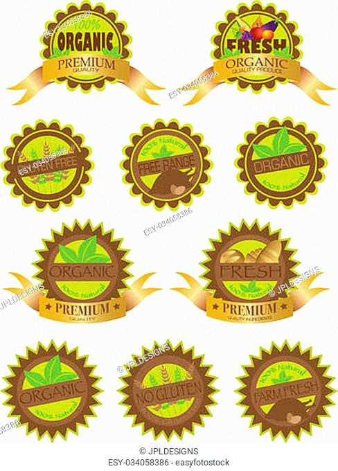 Organic Farm Fresh All Natural Gluten Free Premium Quality Labels Ilustration Isolated on White Background