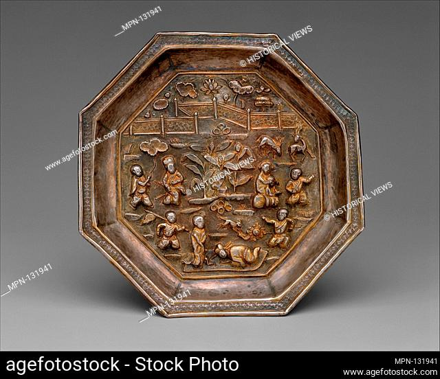 Dish with Children in a Garden. Period: Southern Song dynasty (1127-1279); Date: 13th century; Culture: China; Medium: Silver with repoussé decoration and...