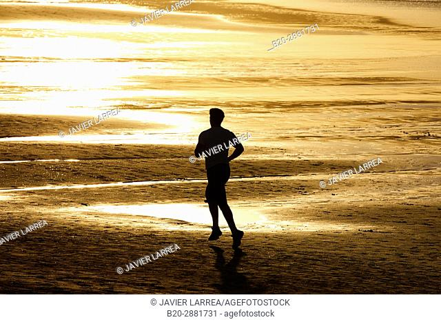 Running, Beach, Hendaye, Aquitaine, Pyrenees Atlantiques, France
