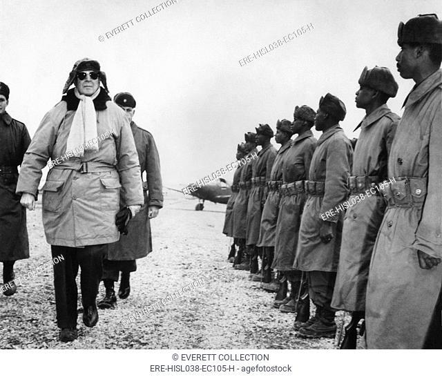 General Douglas MacArthur on an inspection tour of the South Korean Forces. Feb. 21, 1951. Korean War, 1950-53. (BSLOC-2014-11-134)