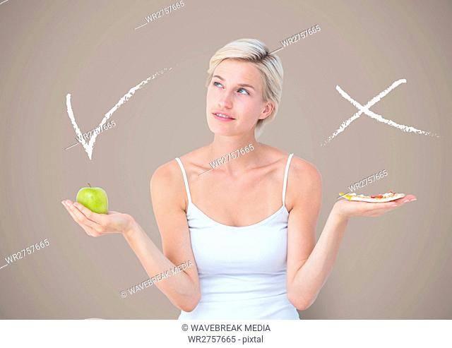 Woman choosing or deciding eating food with open palm hands and right or wrong tick and x