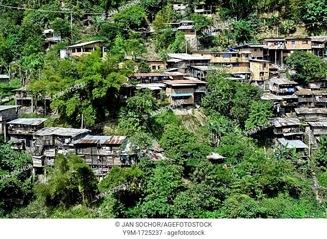 Poor shacks made from scrap wood and sheetmetal grow in the hills around emerald mines of Muzo, Colombia, 20 April 2006  Despite of a persisting civil war...