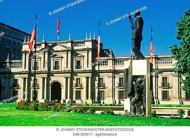 La Moneda, presidential palace, in Plaza de la Constitución. Santiago de Chile, Chile
