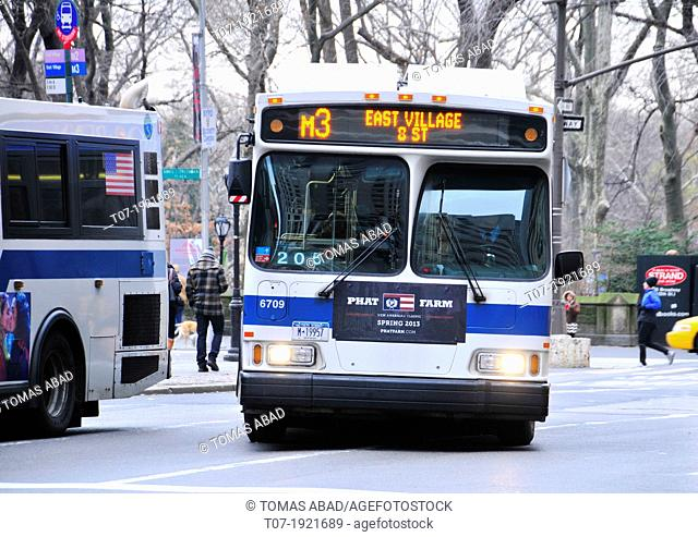 M3 MTA public transportation bus on 5th Avenue, Midtown Manhattan, New York City, USA