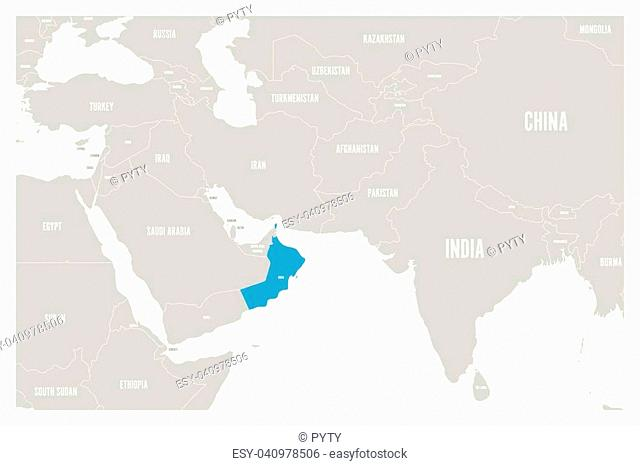 Oman blue marked in political map of South Asia and Middle East. Simple flat vector map.