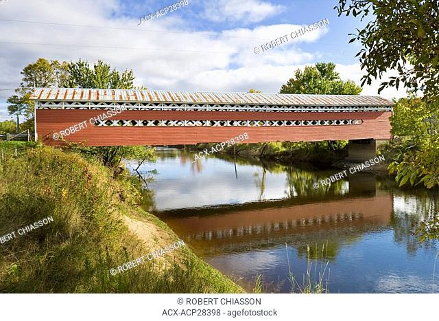 The Prud'homme covered bridge connects Brebeuf with the united townships of Salaberry and Grandison Saint-Jovite. Laurentians, Quebec, Canada