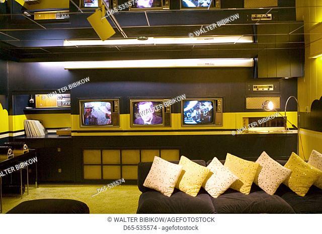 TV Room, Former Residence of Elvis Presley, Graceland, Memphis. Tennessee, USA
