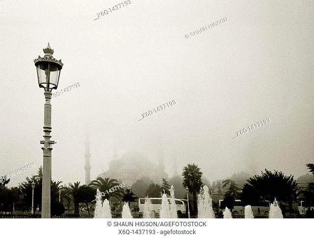 A misty day at the Blue Mosque Sultan Ahmet Camii in Sultanhamet in Istanbul in Turkey in the Middle East