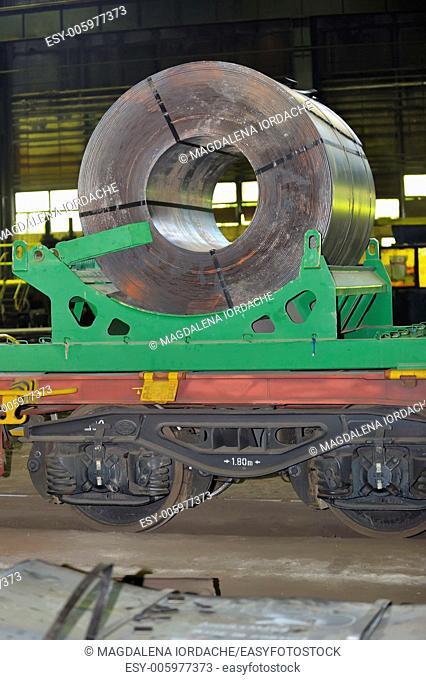 rolls of steel sheet on Railway