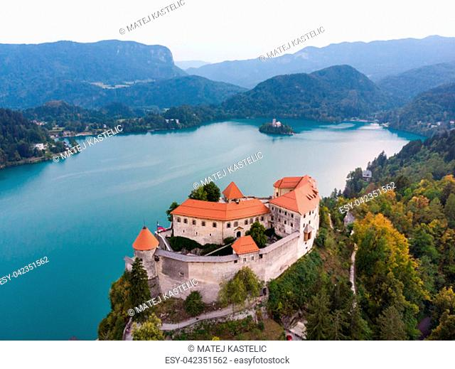 Aerial view of medieval castle by the lake Bled in Slovenia. Beautiful nature of Slovenia
