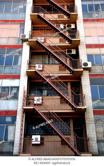 Staircase of an industrial building, Barcelona. Catalonia, Spain
