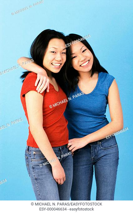 Asian teenage girls twins