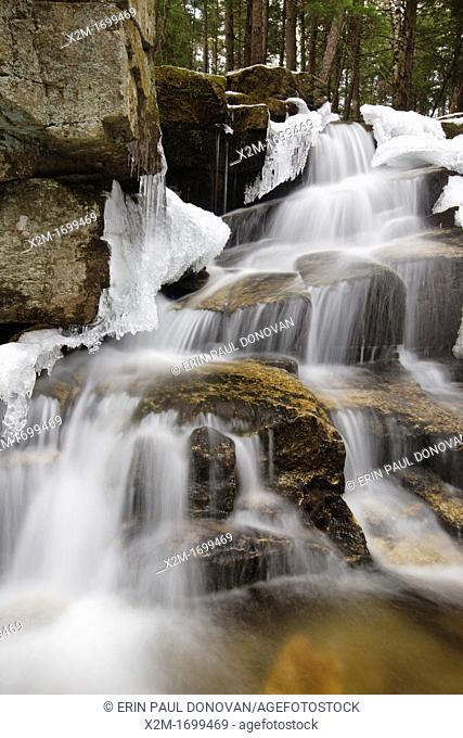 Stair Falls along Bumpus Brook during the spring months in Randolph, New Hampshire USA