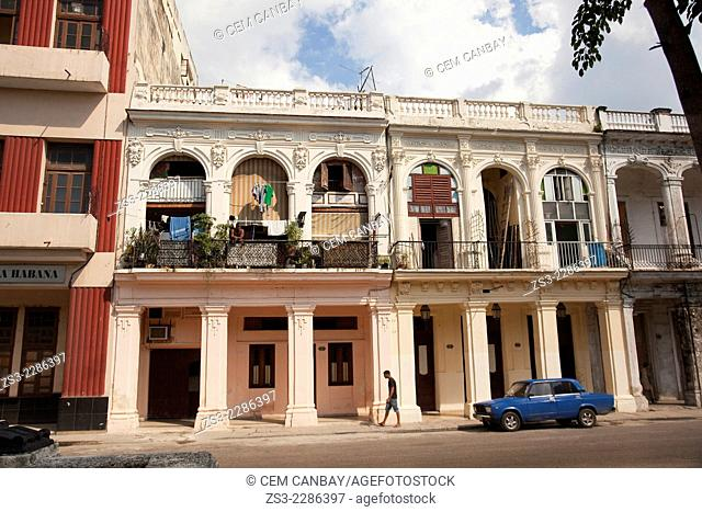 Old colonial houses with balconies along the Prado in the city center, Havana, Cuba, West Indies, Central America