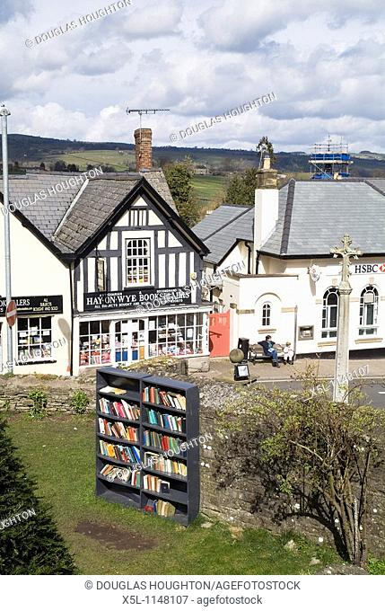 Hay on Wye POWYS WALES Bookcase outside booktown shopfront booksellers Victorian bookshop