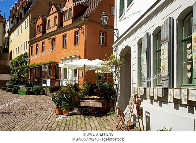Square at the cafe Ziegler in the old town of Meißen