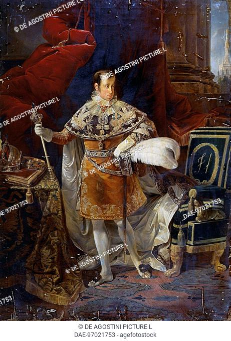 Portrait of Ferdinand I of Austria (Vienna, 1793-Prague, 1875), Emperor of Austria and King of Hungary. Painting by Giuseppe Molteni (1800-1867), 1837