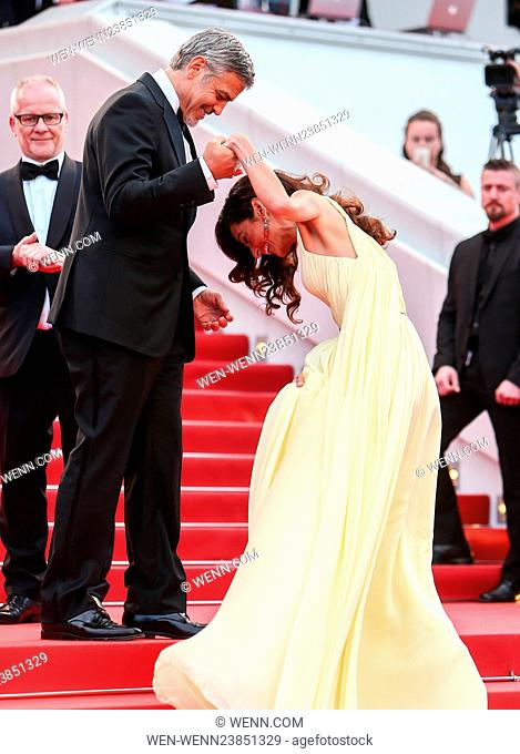 Red Carpet arrivals for the Money Monster screening at the 69th Cannes Film Festival Featuring: George Clooney, Amal Clooney, Amal Alamuddin Where: Cannes