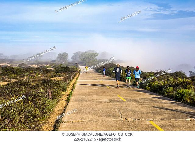 People jogging and walking in the morning on paved path. Torrey Pines State Natural Reserve. San Diego, California, United States