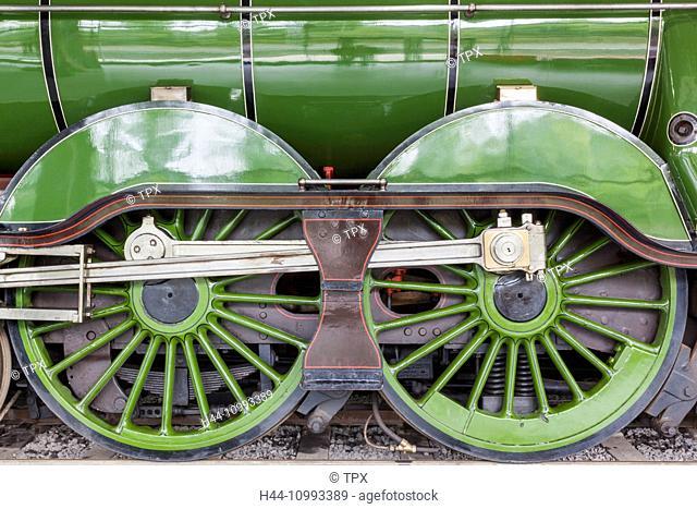 England, County Durham, Shildon, Locomotion National Railway Museum, Steam Train Wheels