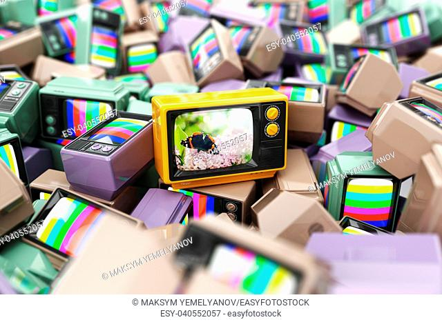 Choice of best channel concept. Heap of vintage tv. Conceptual background. 3d