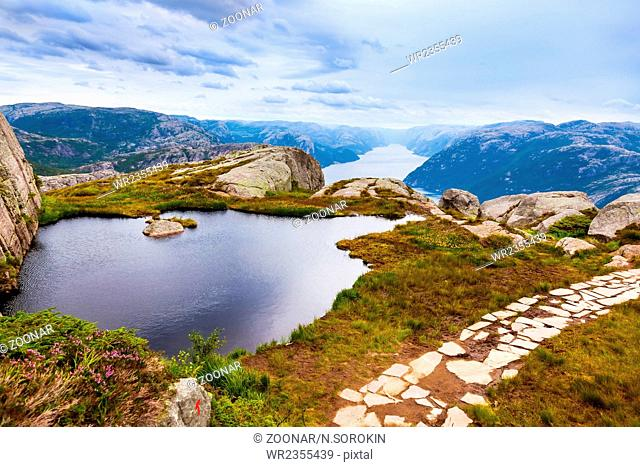 Mountains near the Preachers Pulpit Rock in fjord Lysefjord - Norway
