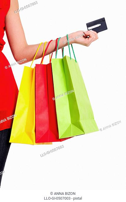 Shopping bags and credit card, Debica, Poland.