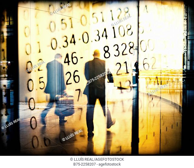 Digital assembly of two unrecognizable executives walking down the street with numbers from Stock exchange in the walls, London, England, UK, Europe