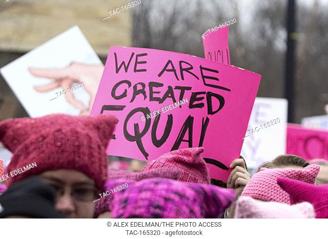A protest sign is seen during the Women's March on Washington in Washington, DC on January 21, 2017