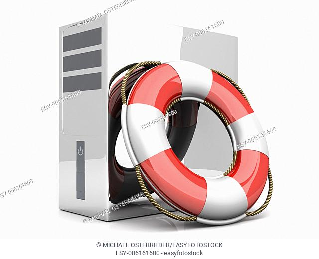 A life belt with a Desktop PC. 3d rendered Illustration. Isolated on white