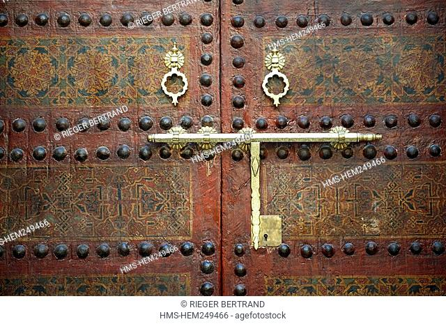 Morocco, Middle Atlas, Fez, Imperial City, Fez El Bali, medina listed as World Heritage by UNESCO, Zaouia funerary mosque of Sidi Ahmed Tijani, detail of a door