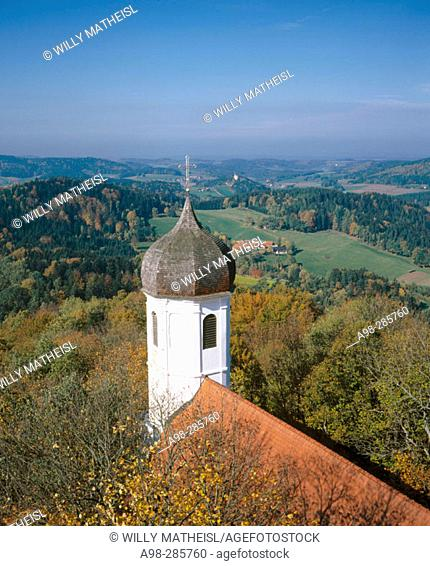 Church tower and roof in autumn. Bavaria, Germany (four seasons, photo 3 of 4)