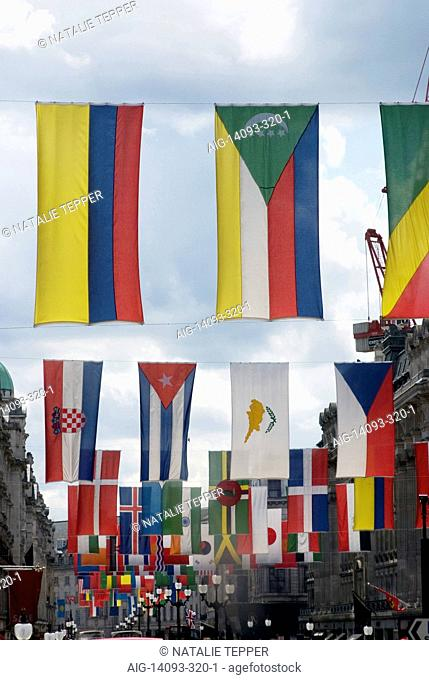 Flags, Regent Street, London, W1, England