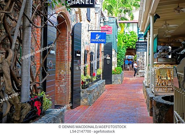 Quaint Shopping Street St. Thomas USVI US Virgin Islands Charlotte Amalie Territory Caribbean Island
