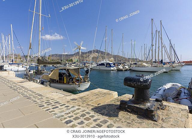 The marina at the Mediterranean coastal city of Cartagena, Spain