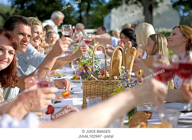 Guests at an outdoor lunch raising their glasses in a toast