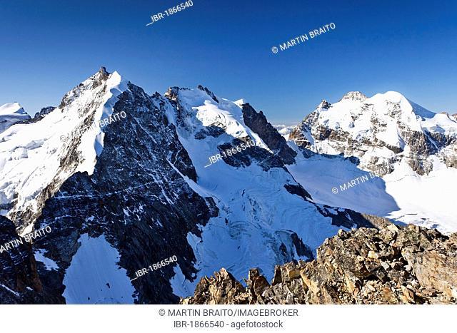 View from Piz Morteratsch Mountain towards Piz Roseg and Piz Bernina Mountains, and Bianco Ridge, Bernina Range, Grisons, Switzerland, Europe