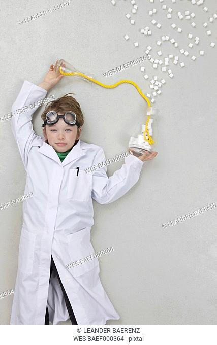 Boy doing experiment, portrait
