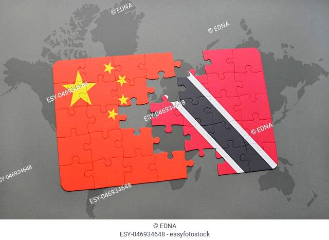 puzzle with the national flag of china and trinidad and tobago on a world map background. 3D illustration