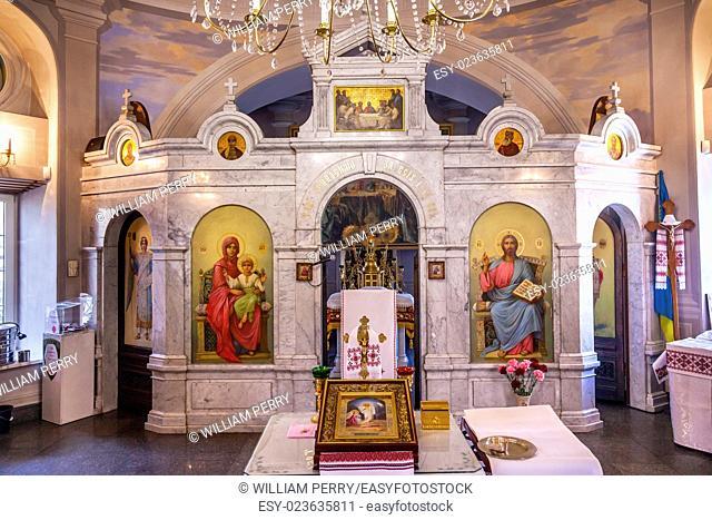 AltarIcons Interior Church Saint Nicholas Askold's Grave Kiev Ukraine. Ukrainian Greek Catholic Church created 1810. Askold's Graveyard has many famous...