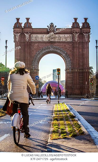 Arc de Triomf, triumphal arch,in Passeig Lluis Companys, Barcelona, Catalonia, Spain